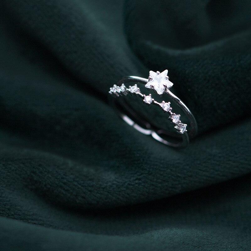 2019 925 Sterling Silber Ringe Frauen Schmuck Einstellbare Stern S925 Mode Accessoires zirkonia Damen Finger Ringe Schmuck