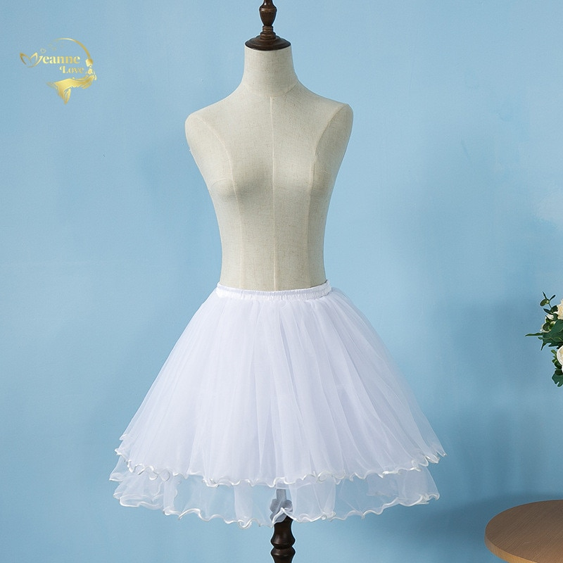 Las muchachas negras Crinoline corto tul una línea falda Slip Lolita Vintage mujeres Underskirt falda blanca capas enagua va A mullido