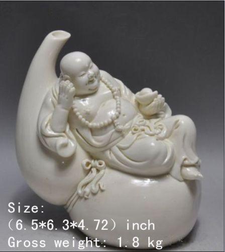 6,5 pulgadas/porcelana blanca dehua China tesoro calabaza feliz sonrisa Buda sonriente