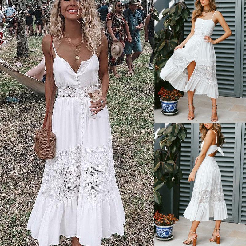 Moda mujer Boho largo Maxi vestido de verano Sexy señoras blanco playa vestido de fiesta nocturna sin mangas Sling cuello pico vestidos