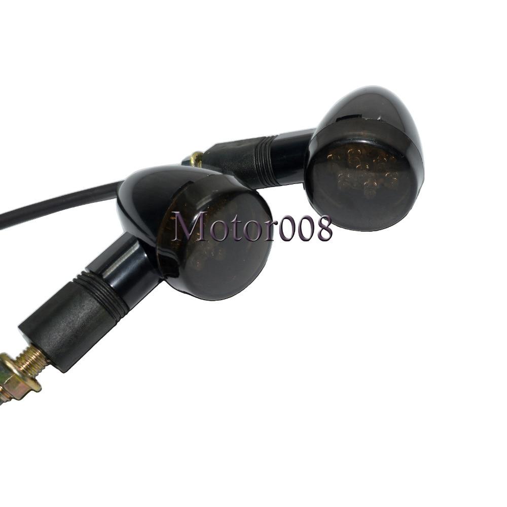 Motorcycle 10mm Black Smoke LED Brake Turn Signal Light Indicator Turn Signal Indicators Blinker for Harley Cafe Racer Custom