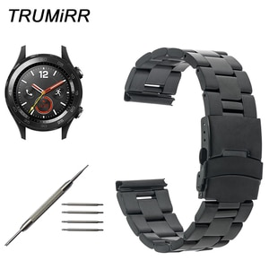 Stainless Steel Watchband for Huawei Watch 2 Sport Pebble Time Round 20mm Bradley Timepiece Safety Buckle Strap Wrist Band Belt