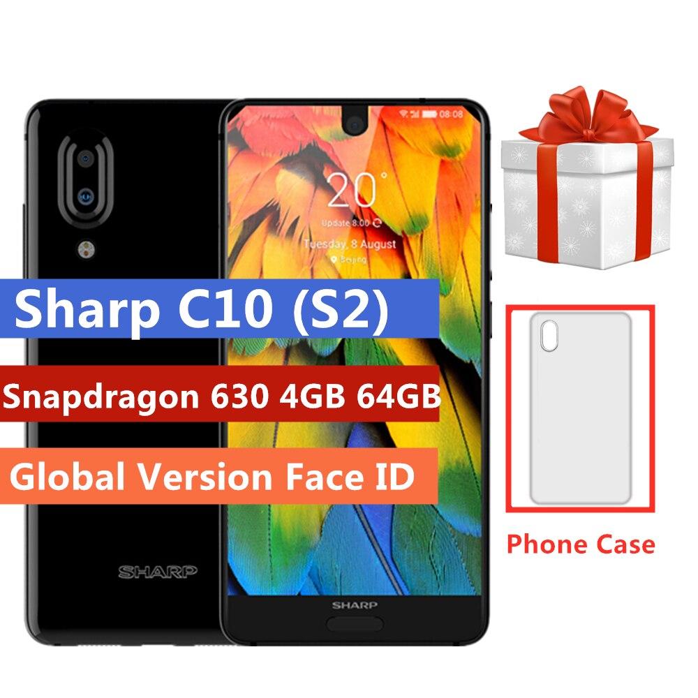 SHARP AQUOS C10 S2 4G Smartphone Android 8.0 Snapdragon 630 octa core 4GB 64GB 5.5 Cal face id NFC 2700mAh telefon komórkowy PK S3
