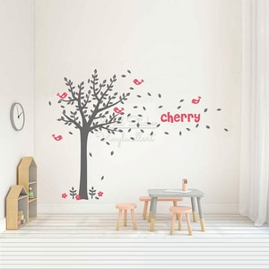 Large Tree Name Wall Sticker Baby Nursery Custom Name Tree Wall Decal Vinyl Sticker Personalized Name Decors Removable Vinyl C89