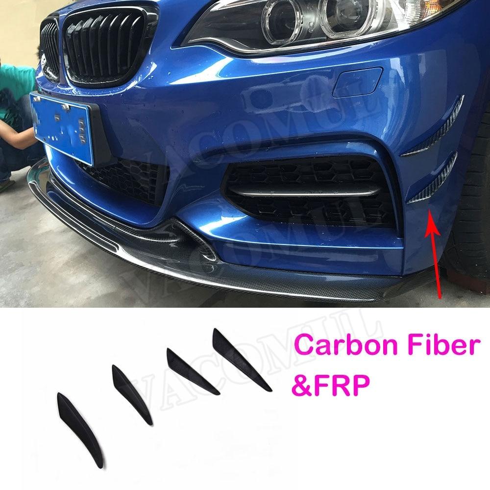 4 unids/set frente para lateral de parachoques conservas de aletas ribetes del divisor del Spoiler de fibra de carbono para BMW E90 E92 E93 F30 F32 F36 F10 G30 F06 F15 F16