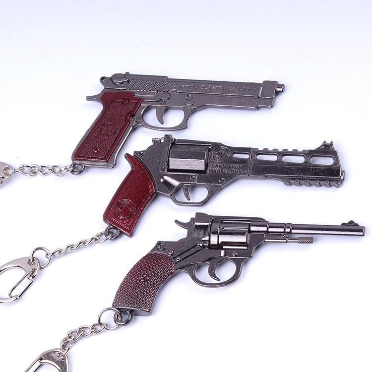 PUBG Simulation Gun Weapons Keychain PUBG Model Mini M4A1 AK47 Key Chain Car Keyring AWP Sniper Cool for Mens Key Cover Jewelry
