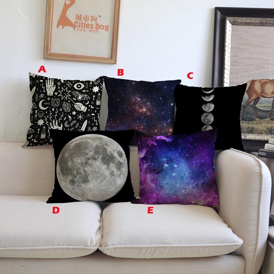 Space Moon Printed Throw Pillow Case Linen Pillowcase Decorative Pillows For Sofa Car Seat Cushion Cover 45x45cm Home Decor
