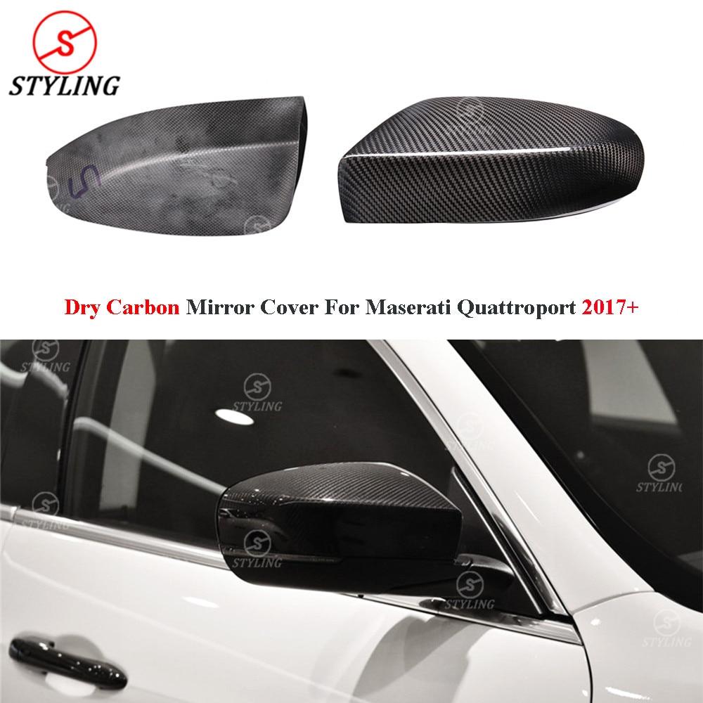 Dry Carbon Fiber Mirror Cover For Maserati Quattroporte Rear Side View caps 2017 2018 2019