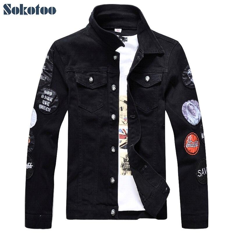 Sokotoo Men's slim full sleeve black denim jean jacket Casual Turn down collar badge patch design outerwear Top