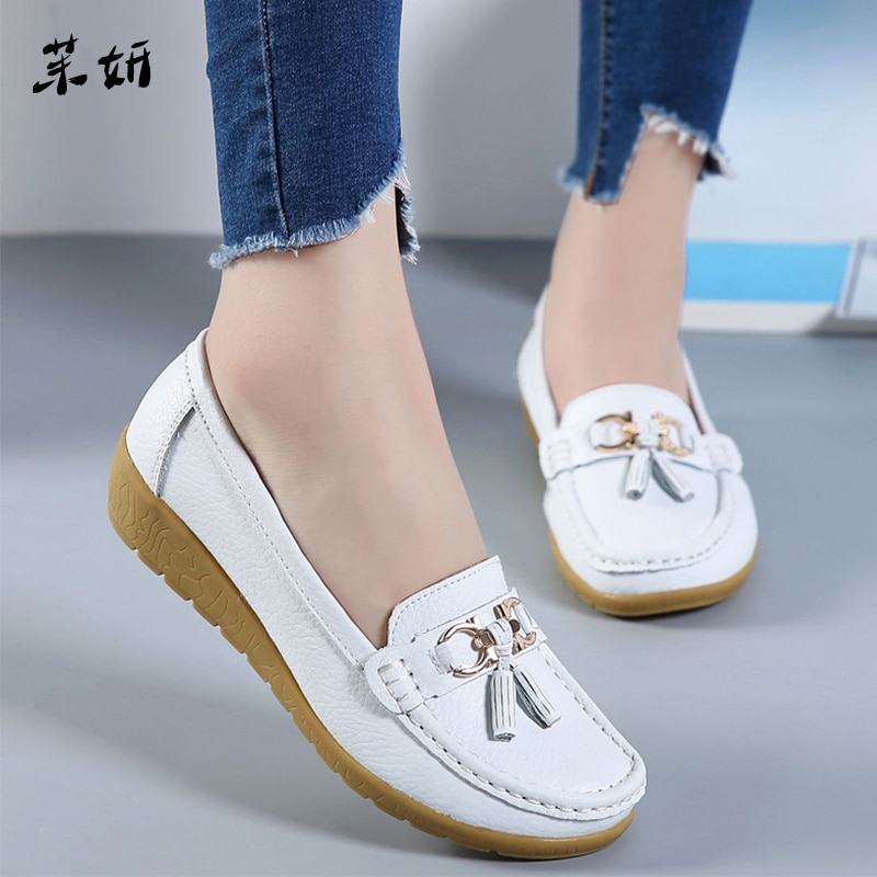 Zapatos de Ballet para mujeres, zapatos planos de cuero con recorte, mocasines transpirables, zapatos náuticos para mujeres, zapatos de bailarina para señoras