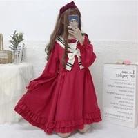 red harajuku sailor collar bow long sleeve dress japanese soft sister pretty girl lovely kawaii students young miss dresses