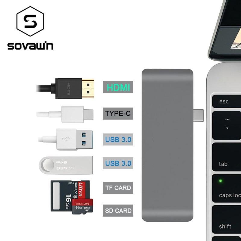 4K USB HUB Charger USB 3.0 Aluminium Usb C hub HDMI Type C HUB Splitter Adapter TF Micro SD Card Reader for Macbook Pro 6 Ports