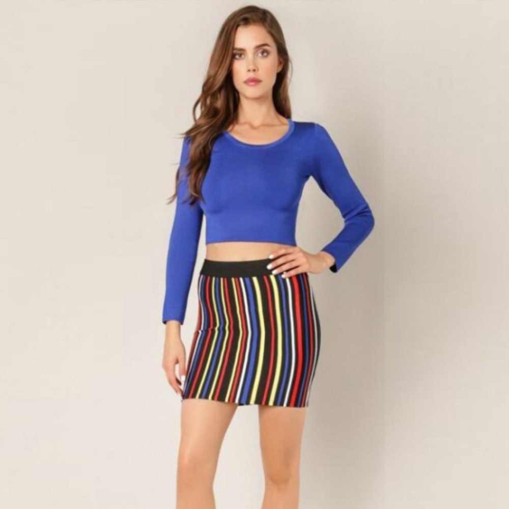 2 uds Set seda artificial de moda vendaje mangas largas Deep partes de arriba de color azul con rayas verticales coloridas Mini vestidos de oficina diario para mujeres