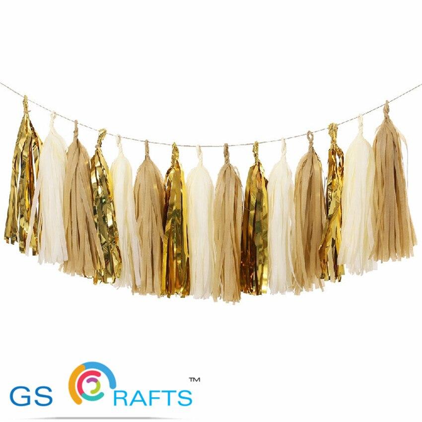 10 pulgadas de borlas de papel tisú decoración de fiesta de boda Garland zorzales pompones Tassle