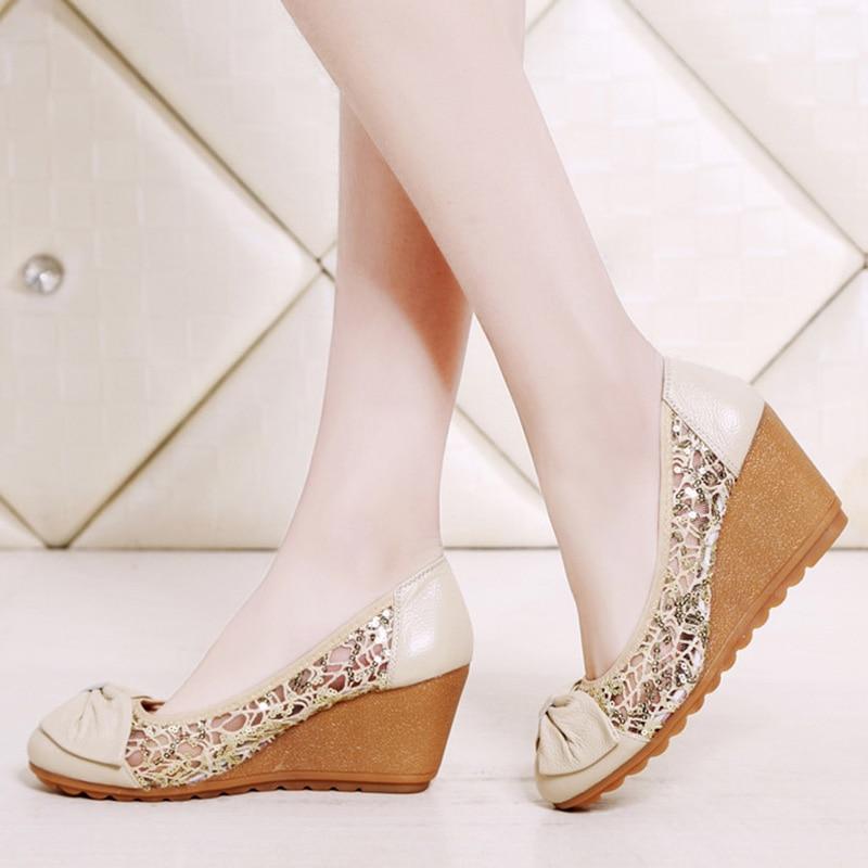 Zapatos de tacón alto de cuero genuino para mujer, zapatos informales de verano para mujer, elegantes cuñas para damas, cómodas Sandalias femeninas A1553