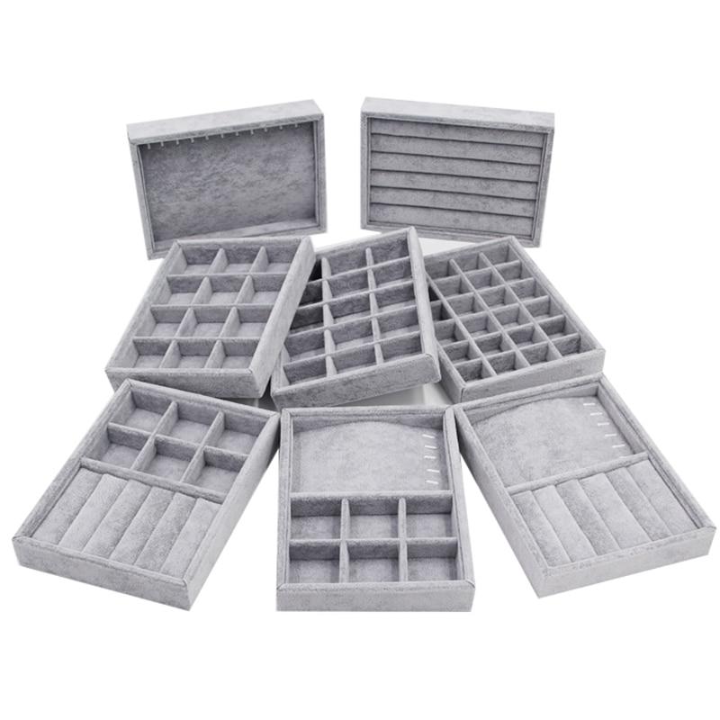 Коробка для ювелирных изделий своими руками, 200*150*30 мм, органайзер для хранения ящиков, серый мягкий вельвет, для ювелирных изделий, серег, ож...