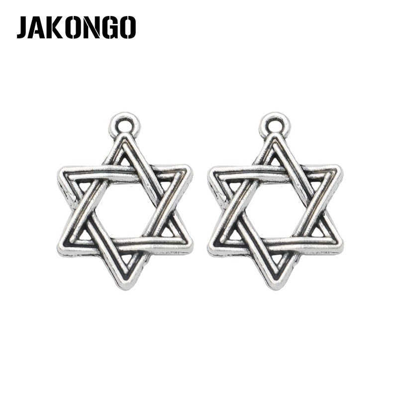 Colgantes antiguos chapados en Plata con Estrella de hexagrama de David para pulsera, joyería, manualidades hechas a mano DIY 20x15mm