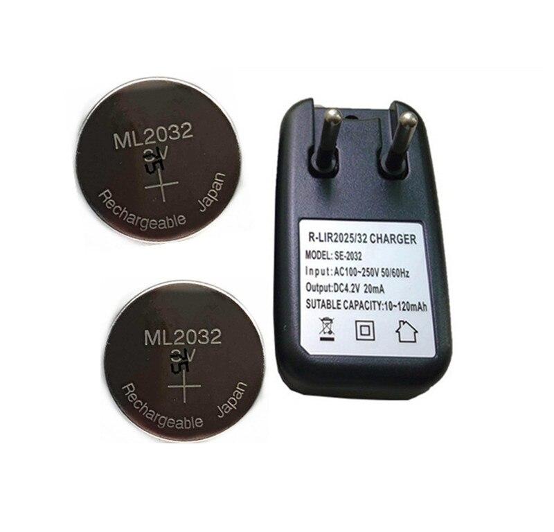 2 шт./лот, новая оригинальная перезаряжаемая литиевая батарея ML2032 3 в, кнопочные батарейки (ML2032)+ 1 зарядное устройство ML2032