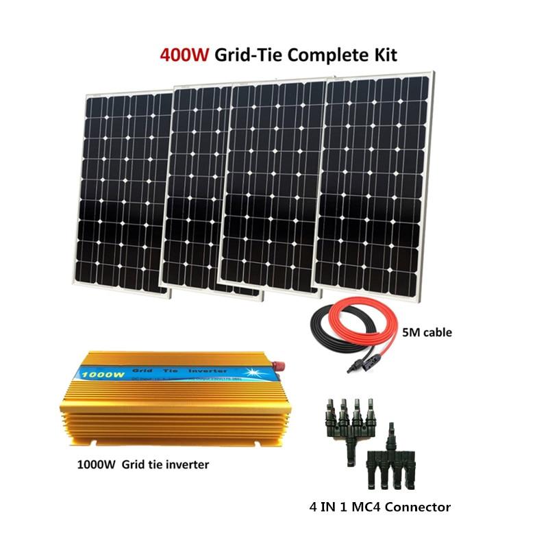 400w نظام لوحات شمسية للمنزل أحادية الشمسية celular الشبكة التعادل نظام مع 1000W محوّل ربط شبكي
