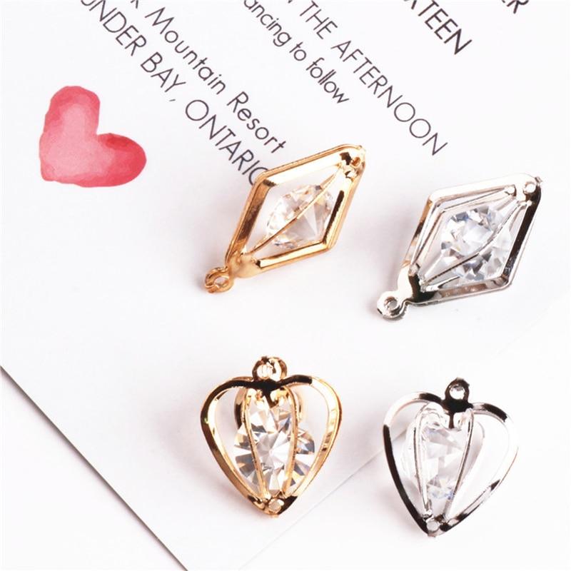 Модные 10 шт./лот 3D хрустальные стразы в форме сердца золотого цвета Серебристые Подвески модные ювелирные аксессуары для поделок своими руками