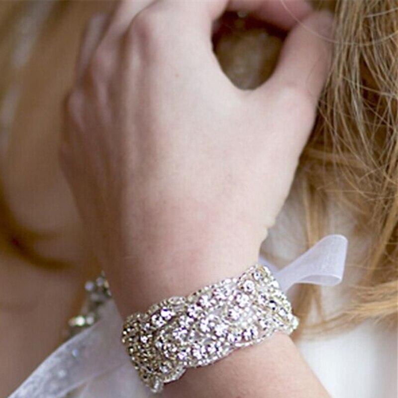 Estilo occidental de alta gama de lujo Cadena de diamantes de imitación brillante cristal Manual cuenta en apliques accesorios para el cabello vestido de boda