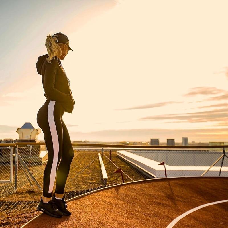 SALSPOR Side Stripe Casual Fitness Leggings Women Elastic Slim Push Up Bodybuilding Leggins Female Patchwork Workout Legging