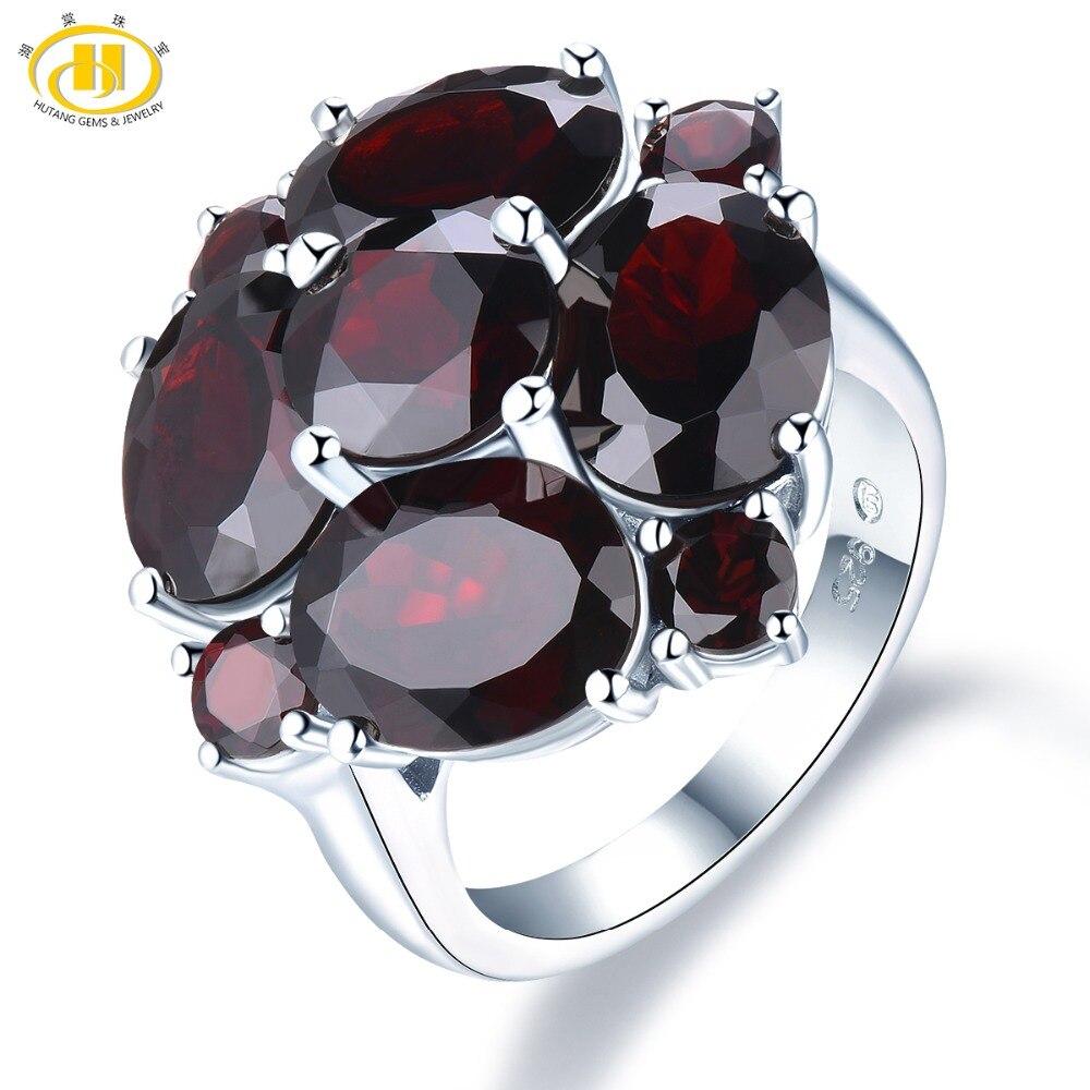 Hutang 5.0ct Black Garnet Wedding Women's Ring Natural Gemstone Solid 925 Sterling Silver Rings Fine Elegant Jewelry for Gift