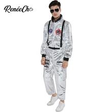 Costume spatial pour hommes adulte grande taille astronaute Costume argent pilote Costumes 2019 nouveauté Halloween Costume une pièce combinaison