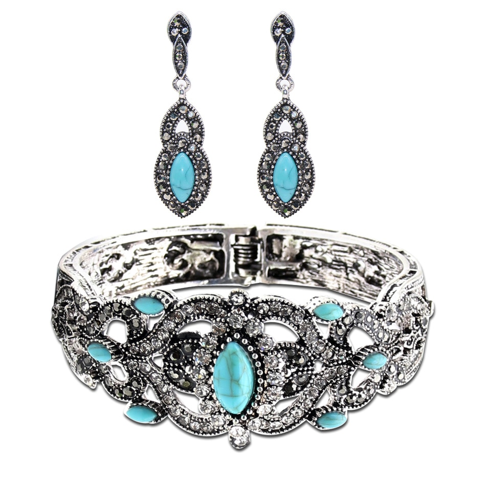 Ethnic Turkish Women Green Stone Earrings Bangle Cuff Jewelry Sets Antique Silver Color Hollow Flower Drop Earring Bracelet Sets
