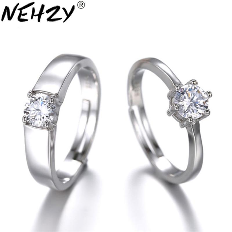 Anillo de compromiso de Plata de Ley 925 NEHZY, anillos de pareja de alta calidad para mujer, anillos de cristal de boda de moda, precio de apertura de joyería