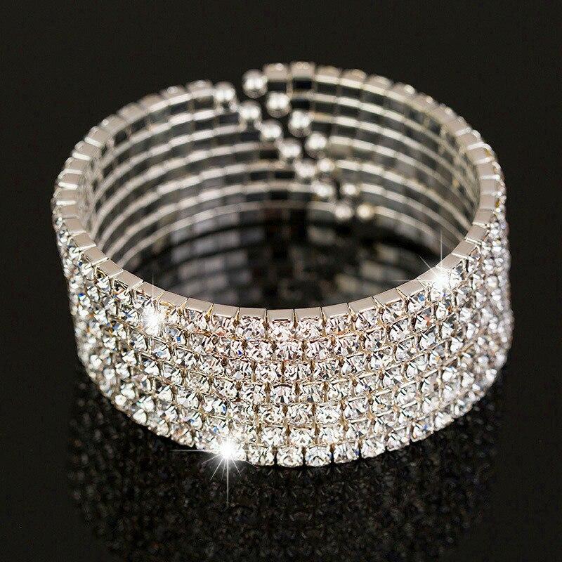 Bonito brazalete femenino de diamantes de imitación de cristal de plata grande, brazaletes de boda de Color para mujer, regalos de San Valentín a la moda