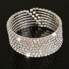 Cute Female Crystal Rhinestone Bangle Big Silver Color Wedding Bracelets Bangles For Women Fashion Valentine's Day Gifts