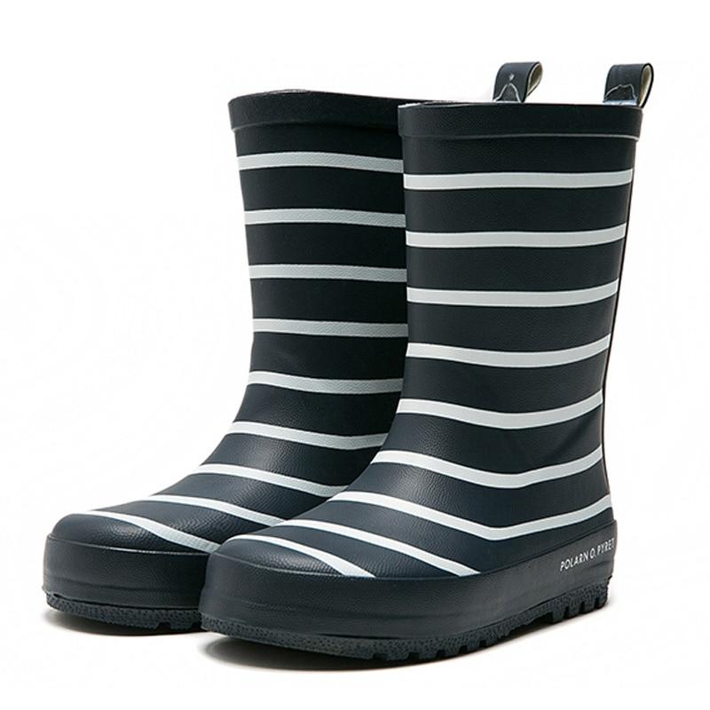 New Children Stripe Rain Boots Boys Girls Mid-Calf Waterproof Rain Boots Rubber Anti-slip Water Shoes for School Boy Girl Red