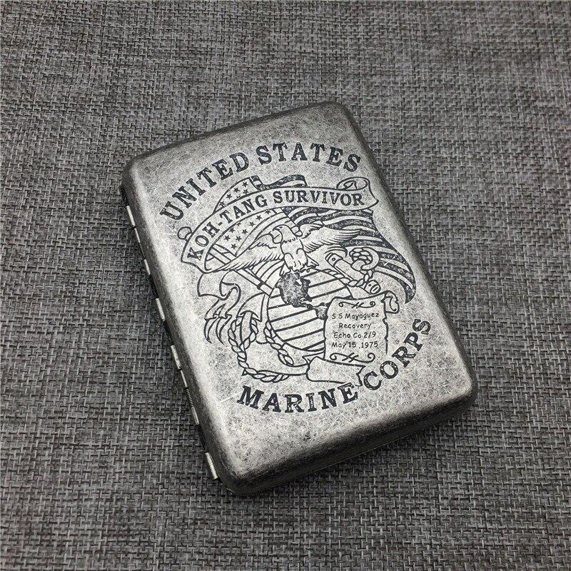 Cuerpo de Marines de los Estados Unidos, 95x72x18mm, caja de cigarrillos de Color plateado de estilo clásico, Material de cobre y latón, caja para cigarrillos, accesorio para fumar