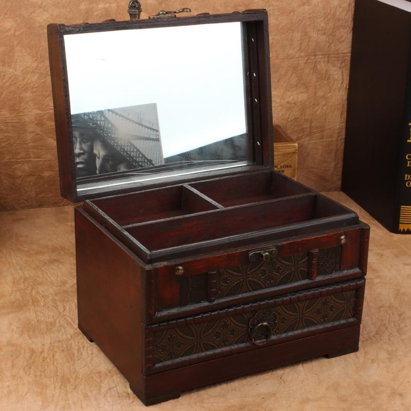 Caja de madera antigua Retro de la vanidad con la caja de joyas con espejo Props caja de almacenamiento de madera cajas organizadoras cajas de maquillaje de escritorio