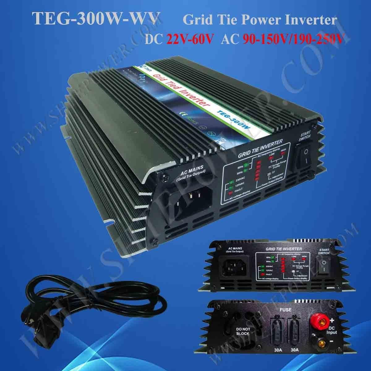 300W 22V-60VDC to 220VAC Grid Tie Inverter, On Grid Solar Power System Inverter