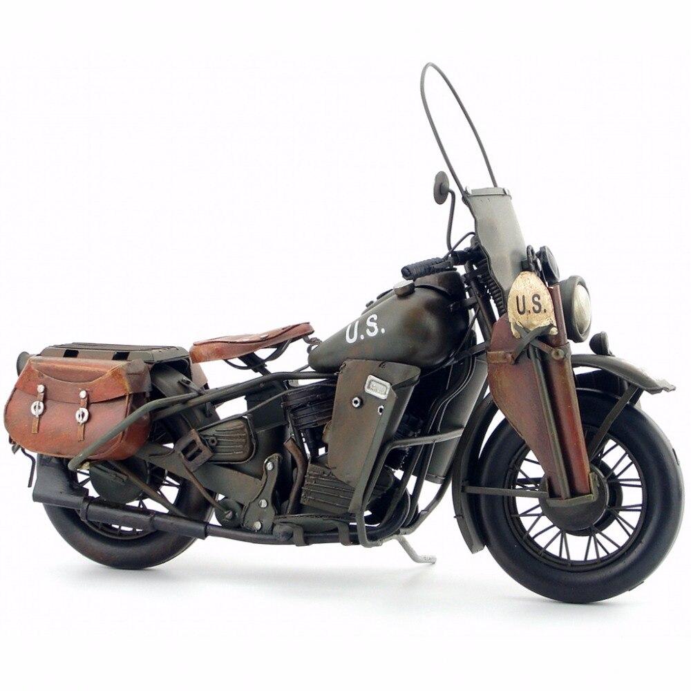 Modelo de motocicleta militar clásico retro vintage artesanías de metal forjado para decoración o regalo de Casa/pub/café