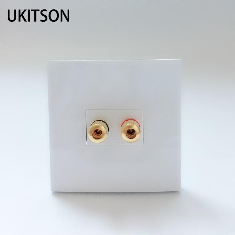 Terminales del panel de Audio Color blanco 86X86mm canales izquierdo y derecho 5,1 Conector de altavoz enchufe de pared de buena calidad