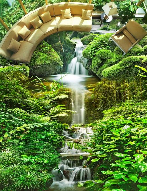 Suelo autoadhesivo papel pintado con paisaje Natural personalizado 3d papel pintado de suelo luxus verde 3d