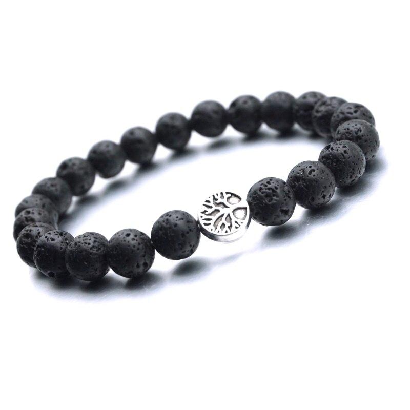 25 стилей, подвески в виде лапы дерева, 8 мм, черные шарики из лавы, ароматерапия, распылитель эфирных масел, браслет, нить для йоги, украшения