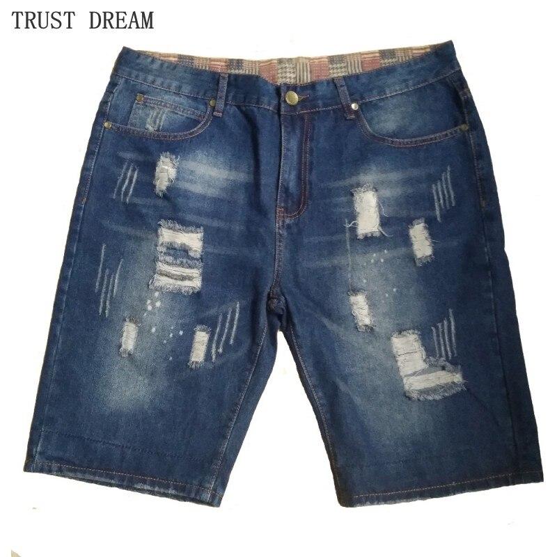 Летние мужские джинсовые шорты в европейском стиле с рваными дырками, винтажные Модные мужские джинсовые шорты
