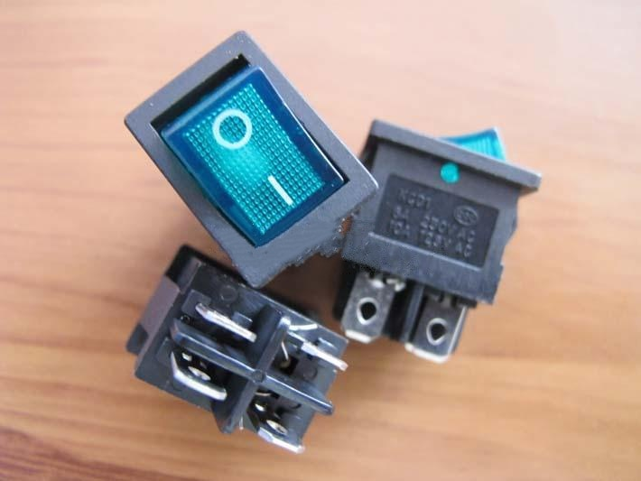 2 piezas 4 pies con luz tipo barco interruptor KCD1-104N verde 220 V