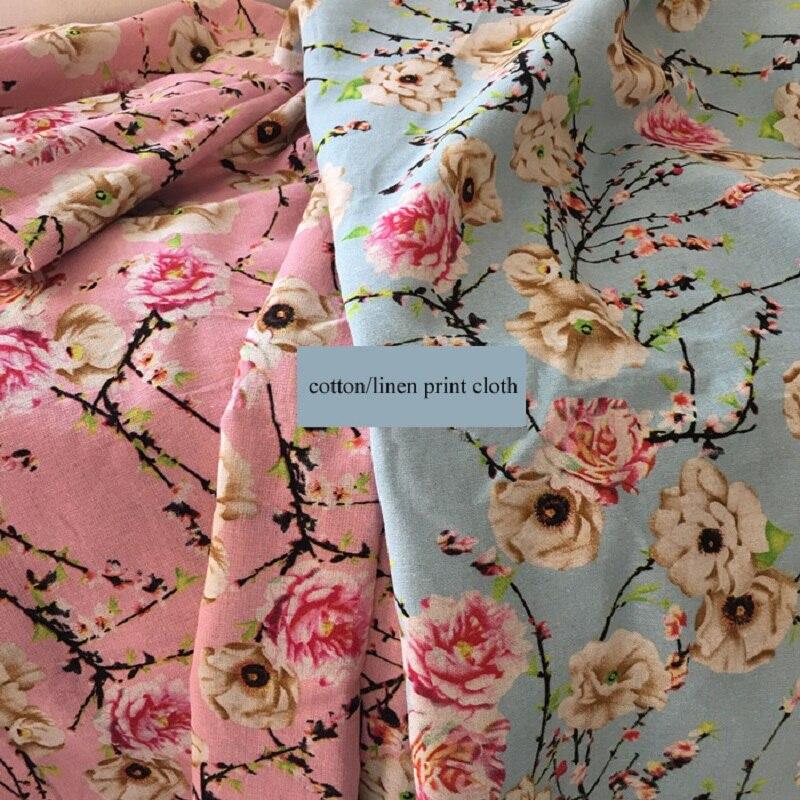 50cm * 140cm Tilda Lino estampado floral tela de algodón costura vestido camisa abrigo sombrero Material de tela