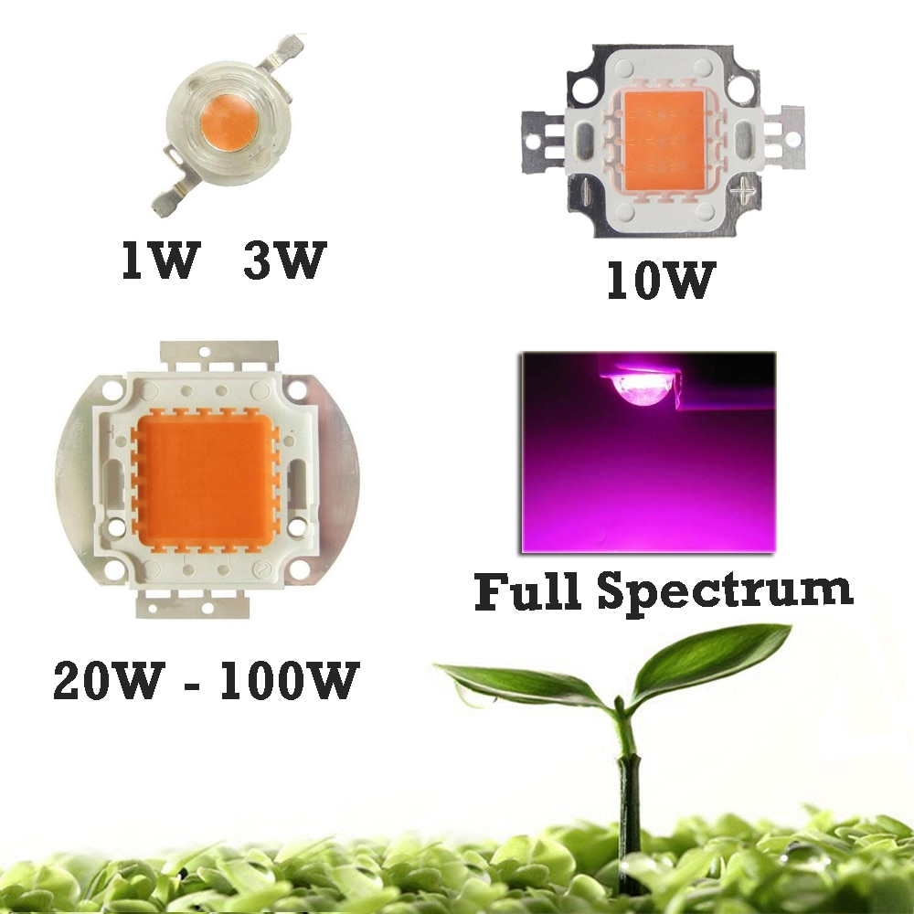high power led chip 1w 3w 5w 10w 20w 30w 50w 100w smd cob light bead warm cold white red green blue rgb full spectrum grow light High power LED Growth light Full Spectrum 400nm-840nm Bridgelux 3W 10W 20W 30W 50W 100W Plant Growing lamp LED Chip Diodes