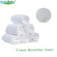 Couche-culotte en tissu pour bébé blanc   Réutilisable, 3 couches, Inserts en microfibre, couche respirante, insertion absorbante