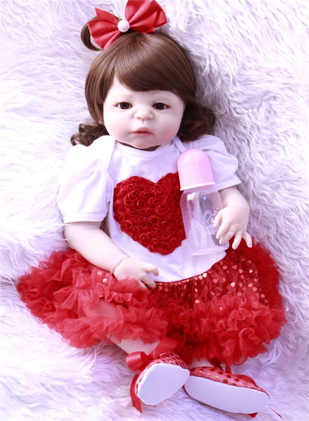 """NPK silicona renacer muñecas bebé 23 """"57 cm Pelo Rizado piel blanca bebé reborn vivo poupee de regalo juguetes de muñecas princesas"""