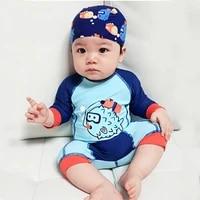 baby swimwear boys 15to 24kg beach infant beachwear baby swimsuits with hat cap long sleeve blue 1 piece waterproof swim pants