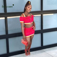 Women Summer 2 Piece Set High Quality Denim Skirt Suit Lady Rainbow Webbing Strap Crop Top + Pockets Button Mini Skirt Set Suit