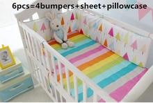 6PCS Regenbogen Baby Bettwäsche Set Bettwäsche Baby wiege krippe babybett bettwäsche set cama bebe (4 stoßfänger + blatt + kissen abdeckung)