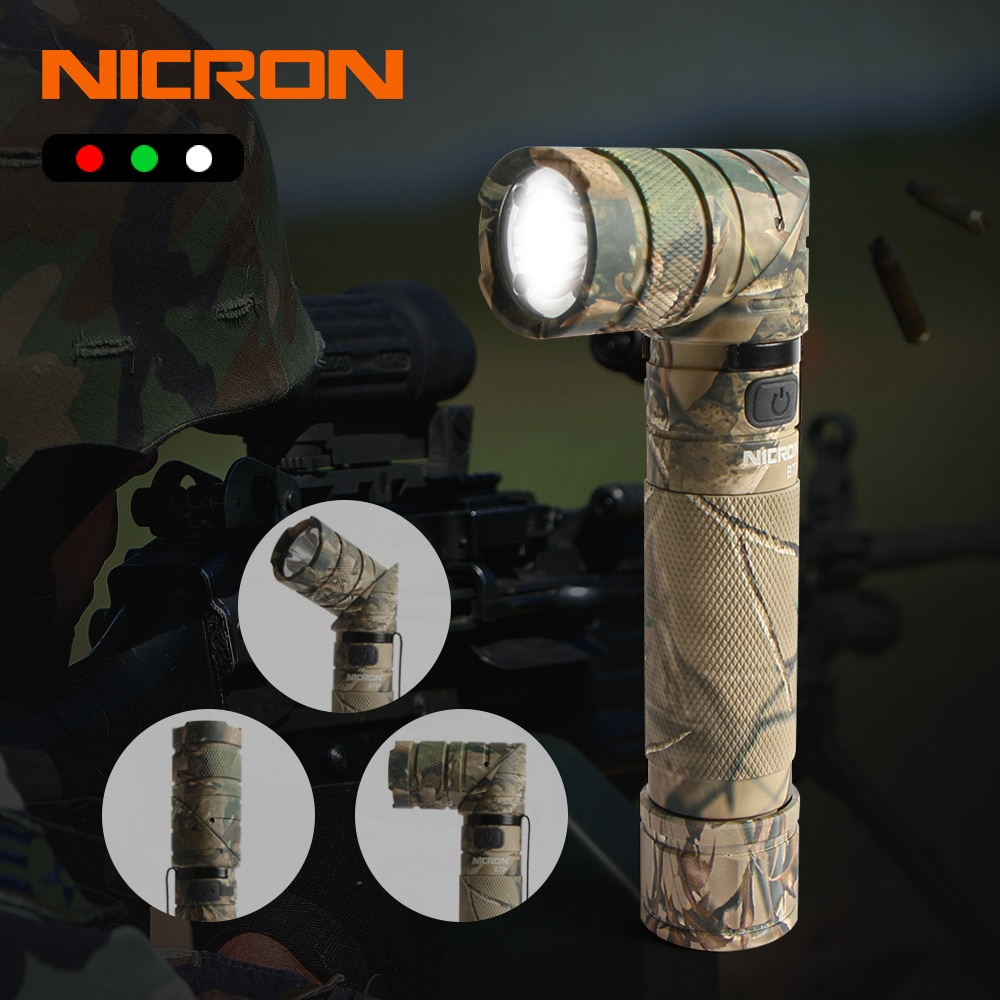 NICRON 3-Color ضوء 90 درجة كامو قابلة للشحن تويست مصباح يدوي مع 360 الروتاري كليب 18650 مقاوم للماء 1200LM LED الشعلة B70Plus